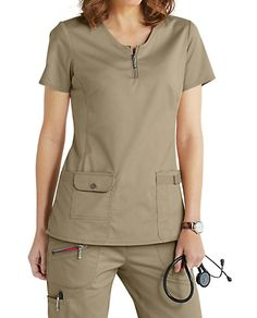 Beyond Scrubs Mia Zip Front Scrub Tops Spa Uniform, Scrubs Uniform, Nursing Dress, Nursing Clothes, Scrub Suit Design, Dental Uniforms, Stylish Scrubs, Scrubs Outfit, Scrub Jackets