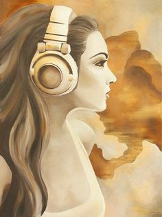 Computer Headphones, Girl With Headphones, Listening To Music, Statue, Prints, Canvas, Products, Wall Canvas, Printing