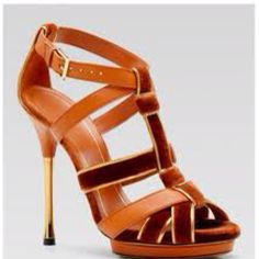 Orange and gold Gucci shoes