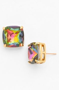 iridescent stud earrings - SO PRETTY!! Goes with ANYTHING!