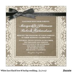 White lace black bow & burlap wedding invitations