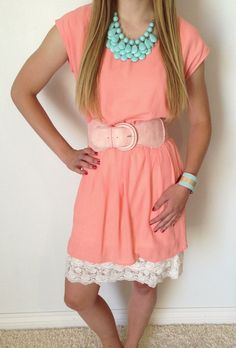 Afternoon Macaroon Tunic Dress, love it with the lace slip underneath and the necklace!!!