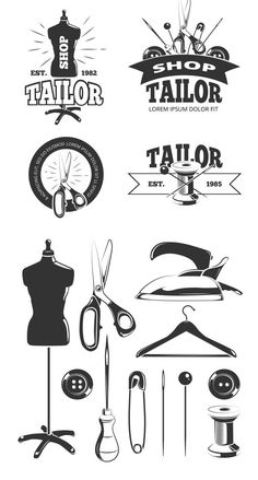 Tailor shop vector labels. $6.00