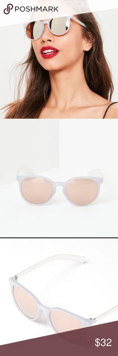 NWT SILVER MIRRORED LENS SUNGLASSES MARBLE FRAME. NWT SILVER MIRROR LENS SUNGLASSES W OPAQUE MARBLE FRAME. Block the haters w this adorable style of the season! MIRRORED silver lenses, slightly marbled lightest grey/white pearlescent frames and opaque side bars. So unique and cute! Adorable light pink Soft case included. Missguided Accessories Sunglasses
