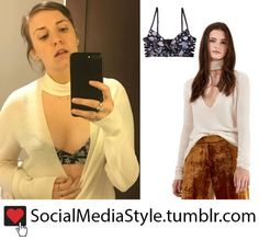 Buy Lena Dunham's Floral Print Bra and White Cutout Sweater, here!