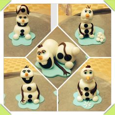 Olaf's cupcake topper made of fondant
