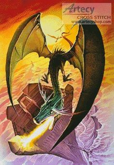 Dragon Swoop - cross stitch pattern designed by Tereena Clarke. Category: Dragons.