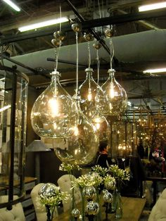 Love the blown glass pendant lights.
