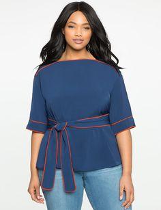 Tie Waist Kimono Top from eloquii.com