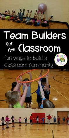 for the Classroom Team builders for the classroom! Great ides to build teamwork and friendship as we head back to school this fall!Team builders for the classroom! Great ides to build teamwork and friendship as we head back to school this fall! Games For Kids Classroom, Building Games For Kids, Classroom Team Building Activities, Team Games For Kids, Building Ideas, Pe Games For Kindergarten, Icebreaker Games For Kids, Community Building Activities, Classroom Ideas