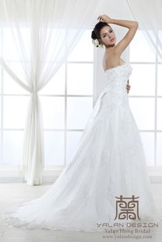 Fit and Flare Lace Wedding Gown|Yalan Wedding Couture |Made to order wedding gowns, bridesmaid dresses,prom dresses and evening gowns www.yalandesign.com  #wedding #weddingdress #weddingdresses