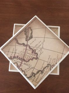 Map coasters ceramic tile coasters tile coasters by KCstylejewelry