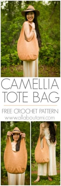 Camellia Tote Bag Modern Crochet Patterns, Crochet Designs, Crochet Tutorials, Crochet Ideas, Crochet Purses, Crochet Yarn, Crochet Tote, All Free Crochet, Free Knitting