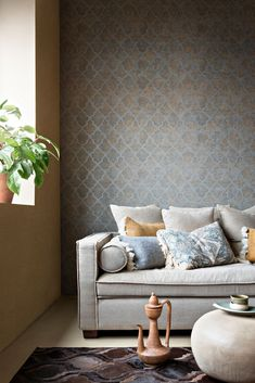 - Imagine what your wall can be Paper Wallpaper, Wallpaper Decor, Wallpaper Ideas, Elegant Wallpaper, Wallpaper Collection, Building Renovation, Love Seat, Art Deco, Couch