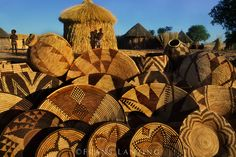 Baskets in Hambukushu village, Okavango Delta, Botswana African Tribes, African Diaspora, Frans Lanting, Contemporary African Art, Winter Art Projects, Okavango Delta, Around The World In 80 Days, Fibre And Fabric, Ceramic Houses