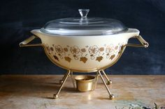 I LOOOVE IT! Vintage Pyrex JAJ bowl RARE Gold on Cream Wild by BexSellsPyrex, £150.00