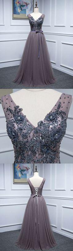 Elegant v neck tulle lace long prom dress, lace evening dress