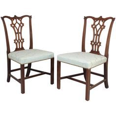 Fine Pair of George III Period Mahogany Side-Chairs in the Chippendale Manner