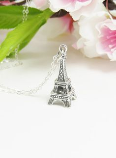 Silver Eiffel Tower Necklace Simple Everyday by Keepitclose, $32.00