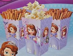 DISNEY PRINCESS SOFIA THE FIRST 4 SNACK BOXES POPCORN CANDY PARTY FAVORS GIFTS