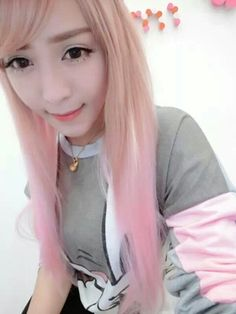 MIKO Harajuku style festival wig streaked color gradient pink color cosplay anime girl with long straight hair - Taobao