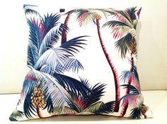 Hawaiian Tropical Palms Cream Cushion Covers Vintage Beach Fabric Covers. + Custom Orders eg.Tablecloth,Table Runner,Bean Bag,Picnic Rug