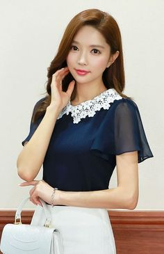 StyleOnme_Floral Lace Collar Chiffon Sleeve Blouse #navy #floral #flower #lace…