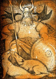 """""""Odin, the All-Father"""". From """"D'Aulaires' Book of Norse Myths,"""" by Ingri and Edgar Parin d'Aulaire."""