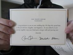 Send a wedding invitation to the White House and you get back this reply...