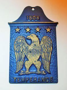 Vintage Temperance Eagle 1808 Blue Gold tone Cast by tjmccarty