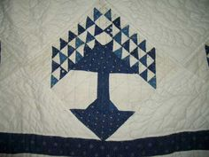 vintage quilt - pine tree or tree of life or tree of paradise - indigo blue