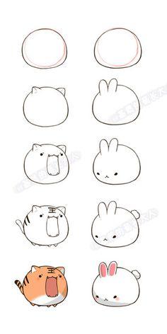 How to draw kawaii animals cute animal drawings a easy bunny drawing how to draw bunny . how to draw kawaii animals Doodles Kawaii, Cute Doodles, Cute Easy Drawings, Cute Animal Drawings, Drawing Animals, Cute Animals To Draw, How To Draw Bunny, How To Draw Tiger, How To Draw Chibi
