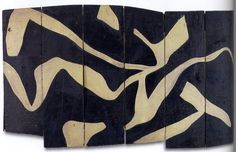 Hans Arp, White Stripes on Black Background, 1917. French sculptor, painter, collagist, printmaker and poet of German birth. The son of a German father and French Alsatian mother, he developed a cosmopolitan outlook from an early age and as a mature artist maintained close contact with the avant-garde throughout Europe. He was a pioneer of abstract art and one of the founders of Dada in Zurich.