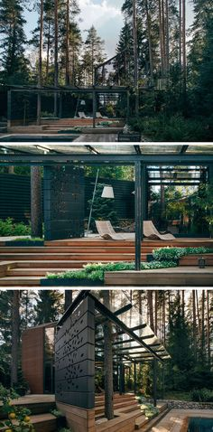 Olga Vetosheva and Eduard Zakharov of HOROMYSTUDIO have designed this modern gym with outdoor sundeck that's located within the forest near Saint-Petersburg, Russia.