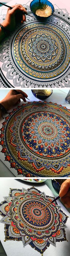 Intricate Mandalas Gilded with Gold Leaf by Artist Asmahan A. Mosleh Intricate Mandalas Gilded with Gold Leaf by Artist Asmahan A. Mandala Art, Mandala Drawing, Mandala Painting, Dot Painting, Painting & Drawing, Painting With Gold Leaf, Gold Leaf Art, Creation Art, Wow Art