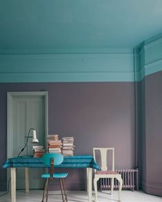 Tiffany blue ceiling extended to wall with charcoal gray for bathroom