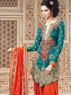 Teal Silk Patiala Suit