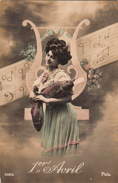 Vintage French April Fool's Day woman with fish photo postcard, ca. 1900s