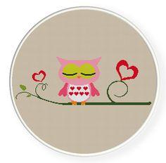 Buy 4 get 1 free ,Buy 6 get 2 free,Cross stitch,owl in love.ZXXC0060. $5.00, via Etsy.