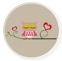 INSTANT DOWNLOAD,Free shipping,Cross stitch,owl in love.ZXXC0060