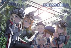 Anime Kantai Collection  Bismarck (Kancolle) Prinz Eugen (Kancolle) Ro-500 (KanColle) Wallpaper