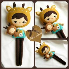 PDF. Deer girl with puppet .Plush Doll Pattern Softie by Noialand