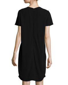 Hardware-Neck Short-Sleeve Dress