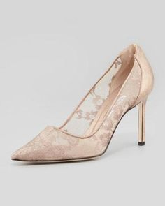 Manolo Blahnik BB Metallic Lace Pointed-Toe Pump, Nude/Gold - Neiman Marcus