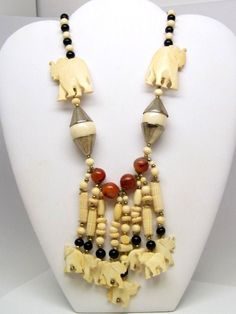 Carved Bone Elephant Necklace w/ Red Agate & Black Beads