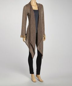 "Take a look at this Brown Sidetail Open Cardigan by J-MODE on #zulily today! $24.99 love the longer cut, can belt it for a cute ""wrap"" look."