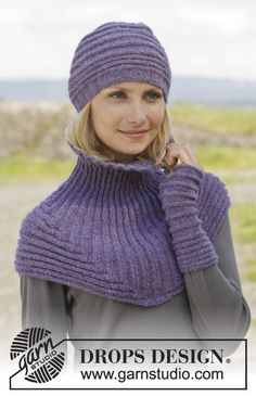 """Chloe / DROPS - Free knitting patterns by DROPS Design - Knitted DROPS hat, collar scarf and wrist warmers in """"Alpaca"""" with cross ribs and longitudinal - Bonnet Crochet, Crochet Poncho, Knit Or Crochet, Knitted Shawls, Crochet Hats, Lace Shawls, Knit Cowl, Hand Crochet, Loom Knitting"""