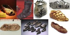 Assortment of ancient shoes. Top row left to right - Iron age shoe from Hallsatt Austria, Viking boot from Oseberg ship, Caliga from the French National Archaeological Museum, Wijster shoe.  Bottom row left to right - 5,500-year-old lace-up moccasin from Armenia, Tollgate Farm Roman shoes, Weerdingerveen shoe.