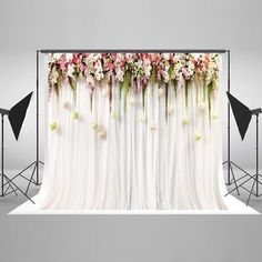 GreenDecor Polyester Fabric Printed Colorful Flowers White Pink Lace Curtain Wedding Ceremony Photography Backdrop Photo Booth Background Image 1 of 4 Wedding Ceremony Ideas, Wedding Events, Wedding Backdrops, Wedding Ceremonies, Bridal Shower Backdrop, Wedding Back Drop Ideas, Wedding Reception, Wedding Stage, Wedding Flower Backdrop
