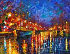 Night Port Print By Leonid Afremov